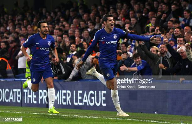 Alvaro Morata of Chelsea FC celebrates scoring his teams first goal during the Premier League match between Chelsea FC and Crystal Palace at Stamford...