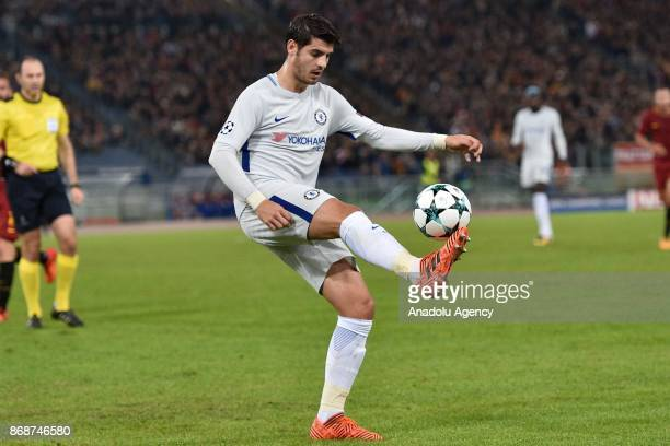 Alvaro Morata of Chelsea FC in action during the UEFA Champions League Group C match between AS Roma and Chelsea FC at Stadio Olimpico in Rome Italy...