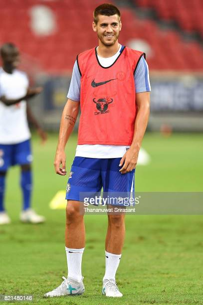 Alvaro Morata of Chelsea FC smiles during a Chelsea FC International Champions Cup training session at National Stadium on July 24 2017 in Singapore