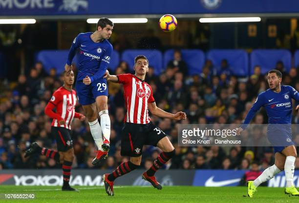 Alvaro Morata of Chelsea FC takes a shot at goal during the Premier League match between Chelsea FC and Southampton FC at Stamford Bridge on January...