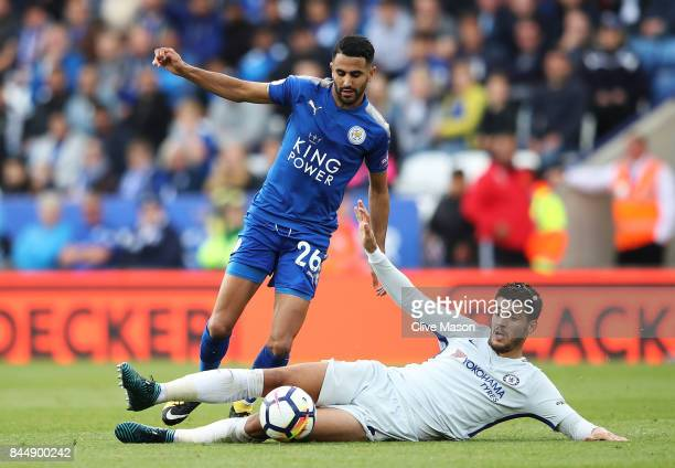 Alvaro Morata of Chelsea fouls Riyad Mahrez of Leicester City during the Premier League match between Leicester City and Chelsea at The King Power...