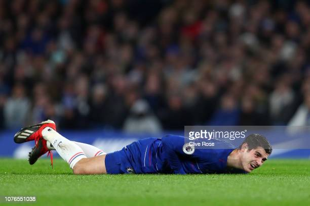 Alvaro Morata of Chelsea goes down injured during the Premier League match between Chelsea FC and Southampton FC at Stamford Bridge on January 2 2019...