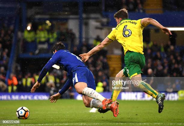 Alvaro Morata of Chelsea goes down under pressure from Christoph Zimmermann of Norwich City leading to the sending off of Alvaro Morata during The...