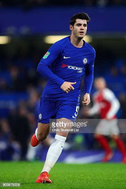 Alvaro Morata of Chelsea in action during the Carabao Cup SemiFinal first leg match between Chelsea and Arsenal at Stamford Bridge on January 10 2018...