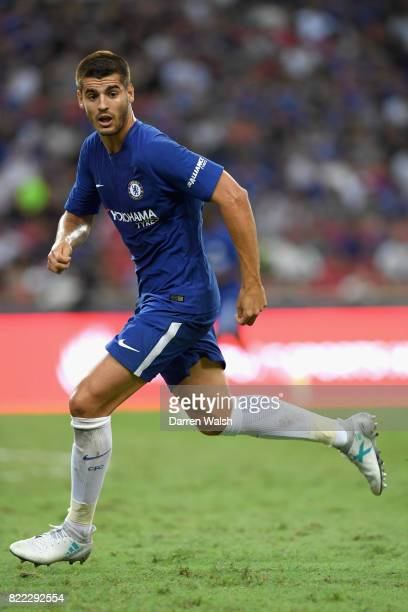 Alvaro Morata of Chelsea in action during the International Champions Cup match between Chelsea FC and FC Bayern Munich at National Stadium on July...