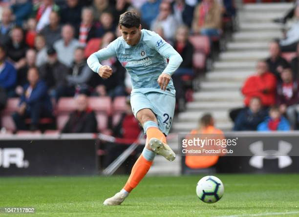 Alvaro Morata of Chelsea in action during the Premier League match between Southampton FC and Chelsea FC at St Mary's Stadium on October 7 2018 in...