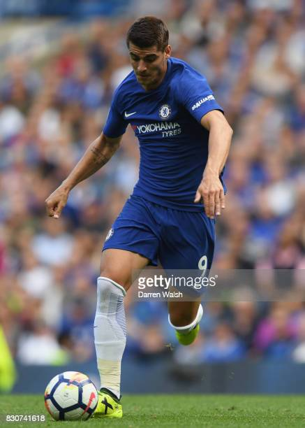 Alvaro Morata of Chelsea in action during the Premier League match between Chelsea and Burnley at Stamford Bridge on August 12 2017 in London England
