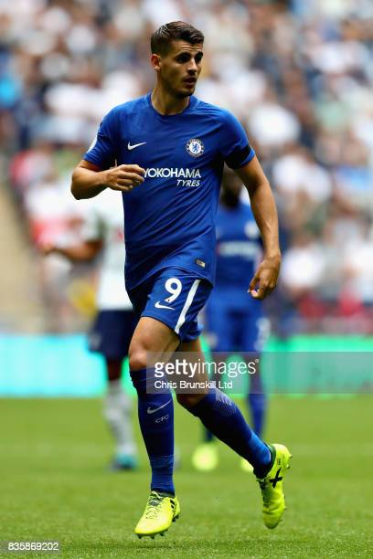 Alvaro Morata of Chelsea in action during the Premier League match between Tottenham Hotspur and Chelsea at Wembley Stadium on August 20 2017 in...