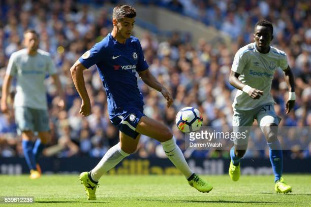 Alvaro Morata of Chelsea in action during the Premier League match between Chelsea and Everton at Stamford Bridge on August 27 2017 in London England