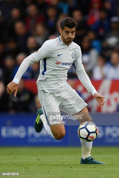 Alvaro Morata of Chelsea in action during the Premier League match between Leicester City and Chelsea at The King Power Stadium on September 9 2017...
