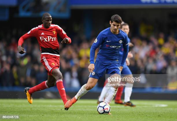Alvaro Morata of Chelsea in action during the Premier League match between Chelsea and Watford at Stamford Bridge on October 21 2017 in London England