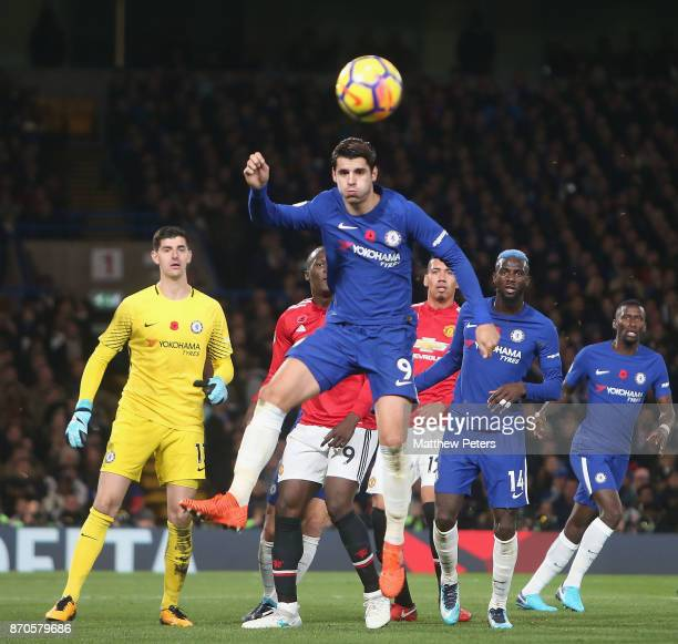 Alvaro Morata of Chelsea in action during the Premier League match between Chelsea and Manchester United at Stamford Bridge on November 5 2017 in...