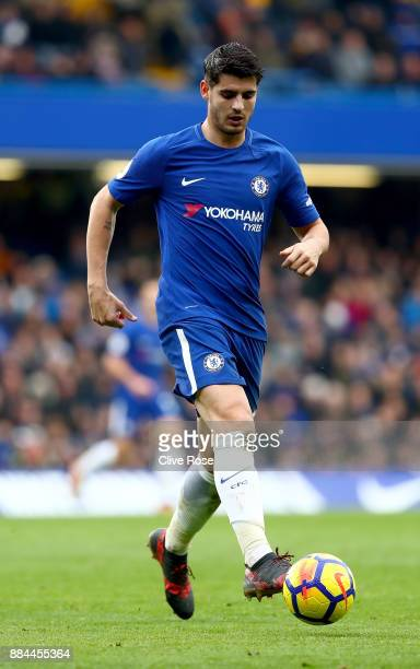 Alvaro Morata of Chelsea in action during the Premier League match between Chelsea and Newcastle United at Stamford Bridge on December 2 2017 in...