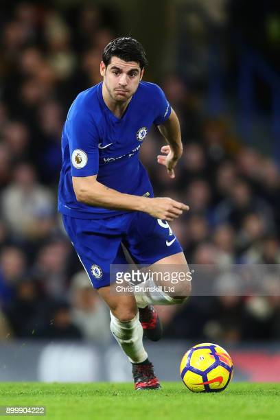 Alvaro Morata of Chelsea in action during the Premier League match between Chelsea and Stoke City at Stamford Bridge on December 30 2017 in London...