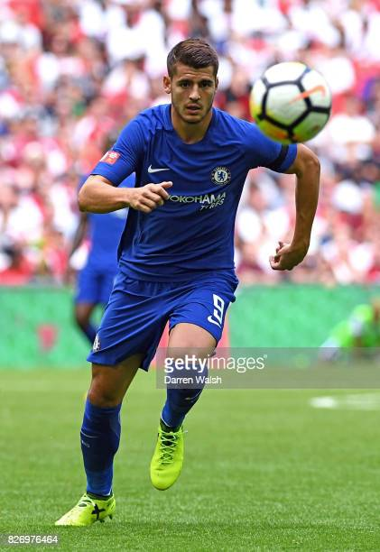 Alvaro Morata of Chelsea in action during the The FA Community Shield final between Chelsea and Arsenal at Wembley Stadium on August 6 2017 in London...