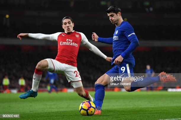 Alvaro Morata of Chelsea in action Hector Bellerin of Arsenal looks on during the Premier League match between Arsenal and Chelsea at Emirates...