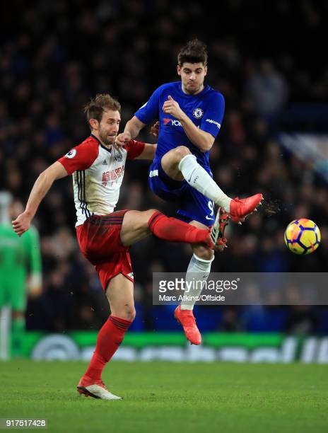 Alvaro Morata of Chelsea in action with Craig Dawson of West Bromwich Albion during the Premier League match between Chelsea and West Bromwich Albion...