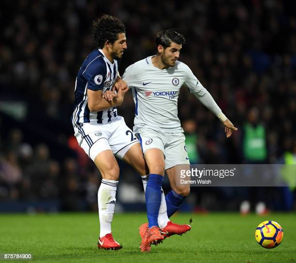 Alvaro Morata of Chelsea is challenged by Ahmed ElSayed Hegazi of West Bromwich Albion during the Premier League match between West Bromwich Albion...