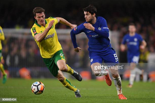 Alvaro Morata of Chelsea is chased by Christoph Zimmermann of Norwich City during The Emirates FA Cup Third Round Replay between Chelsea and Norwich...