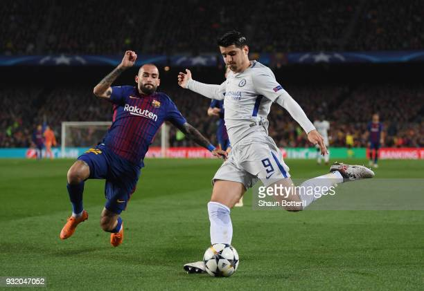 Alvaro Morata of Chelsea is faced by Aleix Vidal of Barcelona during the UEFA Champions League Round of 16 Second Leg match FC Barcelona and Chelsea...