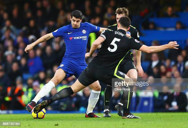 Alvaro Morata of Chelsea is faced by Lewis Dunk of Brighton and Hove Albion during the Premier League match between Chelsea and Brighton and Hove...