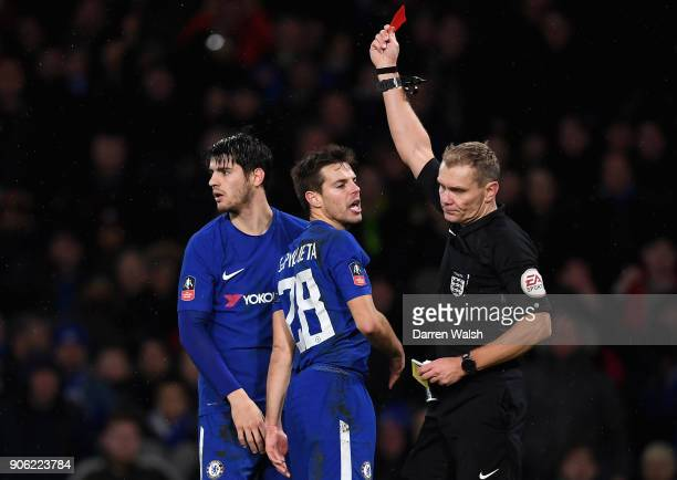 Alvaro Morata of Chelsea is shown a red card during The Emirates FA Cup Third Round Replay between Chelsea and Norwich City at Stamford Bridge on...
