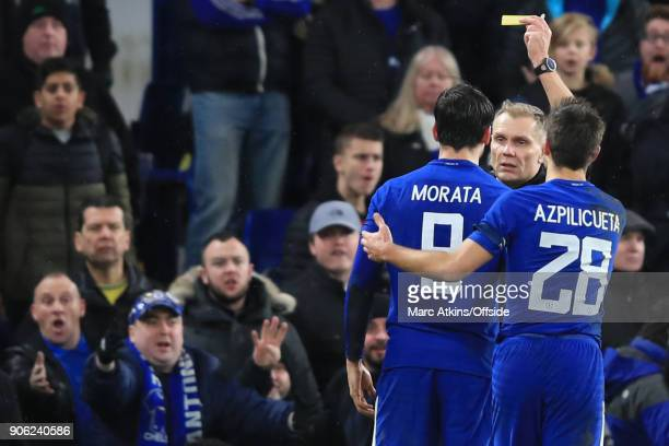 Alvaro Morata of Chelsea is shown his 2nd yellow card before being sent off by referee Graham Scott during the Emirates FA Cup Third Round Replay...