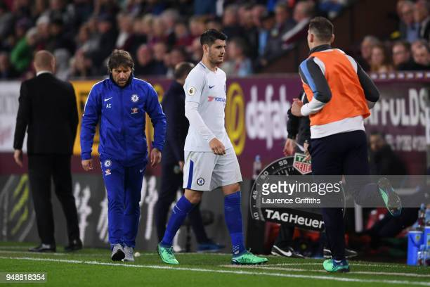 Alvaro Morata of Chelsea is substituted off during the Premier League match between Burnley and Chelsea at Turf Moor on April 19 2018 in Burnley...