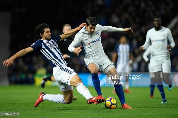 Alvaro Morata of Chelsea is tackled by Ahmed ElSayed Hegazi of West Bromwich Albion during the Premier League match between West Bromwich Albion and...