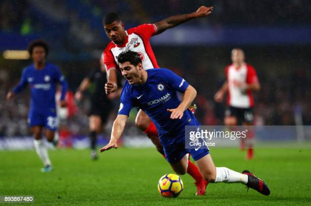 Alvaro Morata of Chelsea is tackled by Mario Lemina of Southampton battle for posession during the Premier League match between Chelsea and...