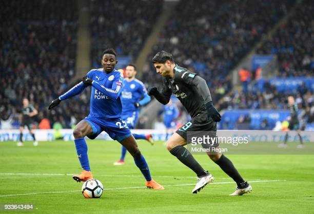 Alvaro Morata of Chelsea is watched by Wilfred Ndidi of Leicester City during The Emirates FA Cup Quarter Final match between Leicester City and...