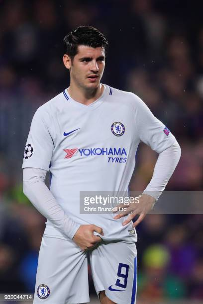 Alvaro Morata of Chelsea looks on during the UEFA Champions League Round of 16 Second Leg match between FC Barcelona and Chelsea FC at Camp Nou on...