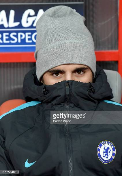 Alvaro Morata of Chelsea looks on prior to the UEFA Champions League group C match between Qarabag FK and Chelsea FC at Baki Olimpiya Stadionu on...
