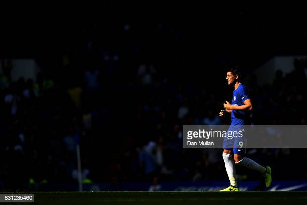 Alvaro Morata of Chelsea makes his way onto the pitch during the Premier League match between Chelsea and Burnley at Stamford Bridge on August 12...
