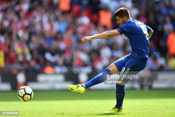 Alvaro Morata of Chelsea misses his penalty during the penalty shoot out in the The FA Community Shield final between Chelsea and Arsenal at Wembley...