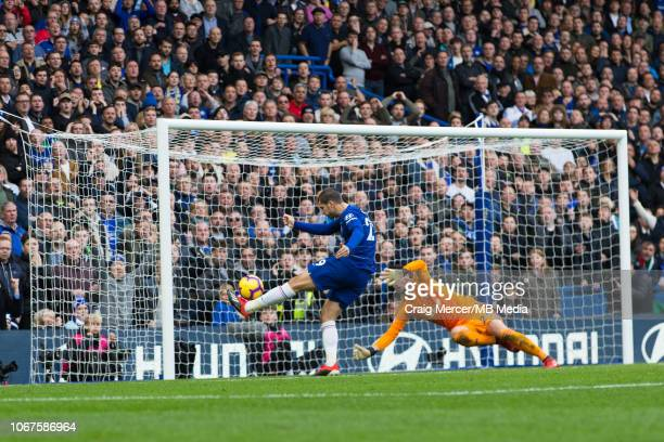Alvaro Morata of Chelsea misses with this chance during the Premier League match between Chelsea FC and Fulham FC at Stamford Bridge on December 2...