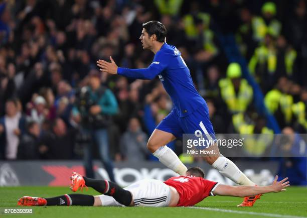 Alvaro Morata of Chelsea reacts during the Premier League match between Chelsea and Manchester United at Stamford Bridge on November 5 2017 in London...