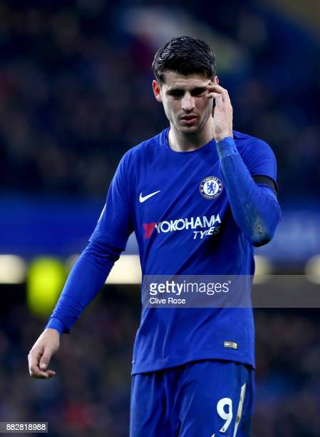 Alvaro Morata of Chelsea reacts during the Premier League match between Chelsea and Swansea City at Stamford Bridge on November 29 2017 in London...