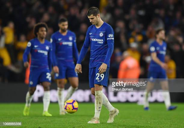 Alvaro Morata of Chelsea reacts during the Premier League match between Wolverhampton Wanderers and Chelsea FC at Molineux on December 5 2018 in...