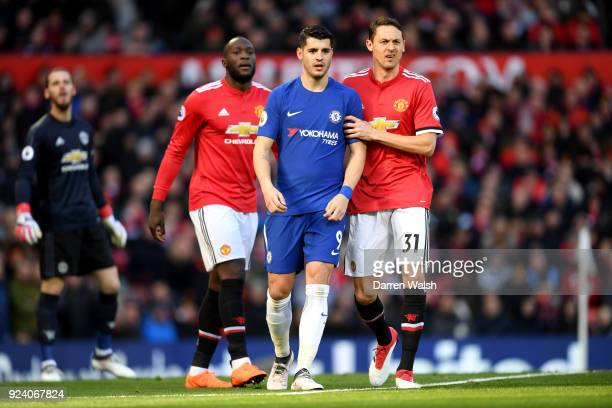 Alvaro Morata of Chelsea Romelu Lukaku and Nemanja Matic of Manchester United during the Premier League match between Manchester United and Chelsea...
