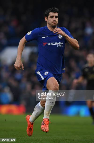 Alvaro Morata of Chelsea runs during the Premier League match between Chelsea and Leicester City at Stamford Bridge on January 13 2018 in London...