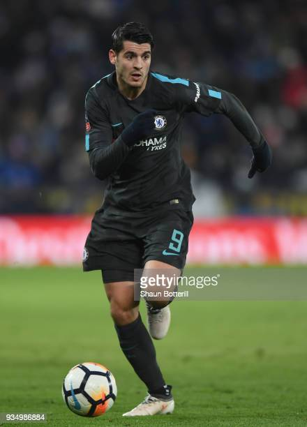 Alvaro Morata of Chelsea runs with the ball during the the Emirates FA Cup Quarter Final match between Leicester City and Chelsea at The King Power...