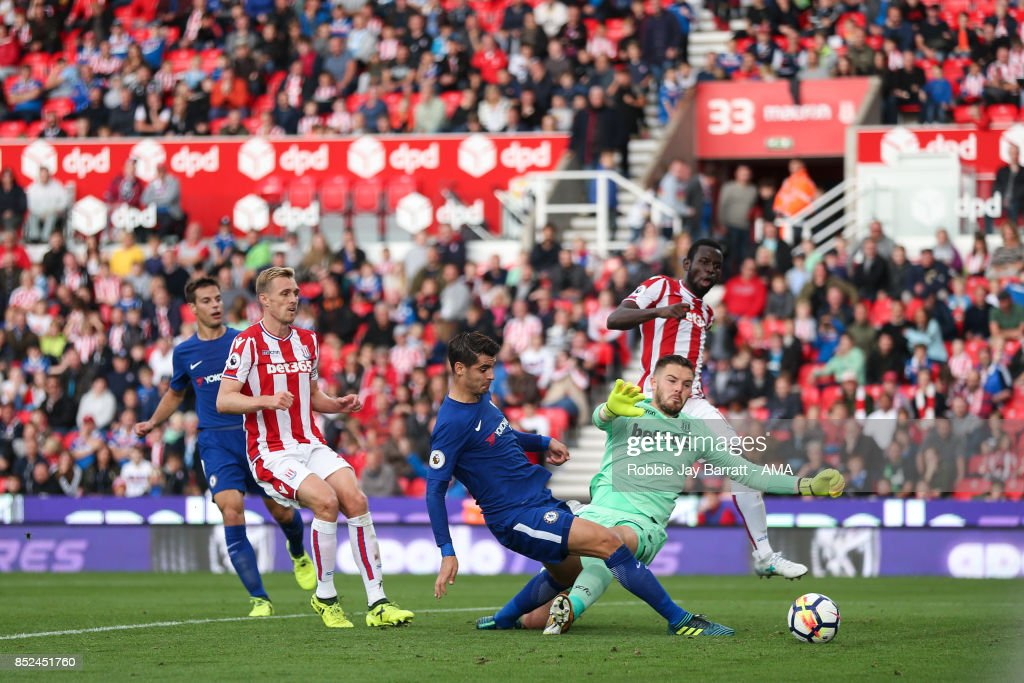 Alvaro Morata of Chelsea scores a goal to make it 0-4 during the Premier League match between Stoke City and Chelsea at Bet365 Stadium on September 23, 2017 in Stoke on Trent, England.