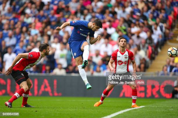 Alvaro Morata of Chelsea scores a goal to make it 20 during The Emirates FA Cup Semi Final match between Chelsea and Southampton at Wembley Stadium...