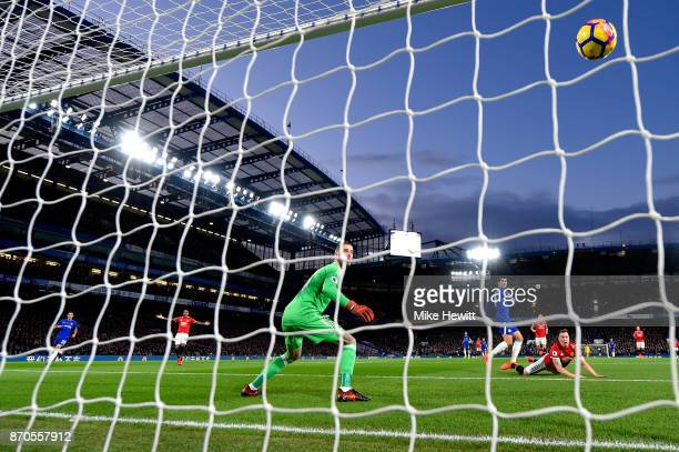 Alvaro Morata of Chelsea scores but it is later dissallowed during the Premier League match between Chelsea and Manchester United at Stamford Bridge...