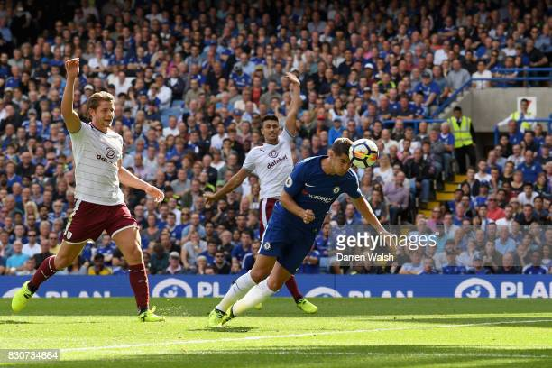 Alvaro Morata of Chelsea scores his sides first goal as Burnley players appeal for offside during the Premier League match between Chelsea and...
