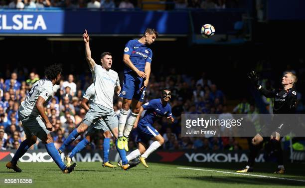 Alvaro Morata of Chelsea scores his sides first goal during the Premier League match between Chelsea and Everton at Stamford Bridge on August 27 2017...