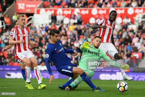 Alvaro Morata of Chelsea scores his sides fourth goal during the Premier League match between Stoke City and Chelsea at Bet365 Stadium on September...