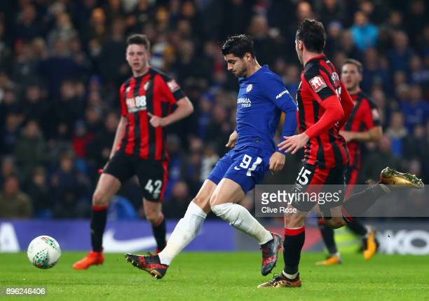 Alvaro Morata of Chelsea scores his sides second goal during the Carabao Cup QuarterFinal match between Chelsea and AFC Bournemouth at Stamford...