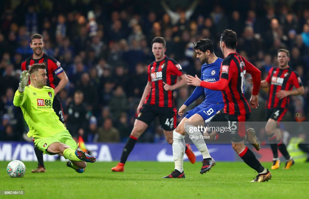 Alvaro Morata of Chelsea scores his sides second goal during the Carabao Cup Quarter-Final match between Chelsea and AFC Bournemouth at Stamford Bridge on December 20, 2017 in London, England.